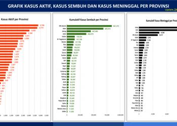 Grafik Kasus Aktif, Kasus Sembuh dan Kasus Meninggal per Provinsi (Update per 24 September 2021)