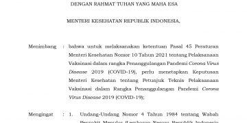 Keputusan Menteri Kesehatan Republik Indonesia Nomor HK.01.07/MENKES/4638/2021