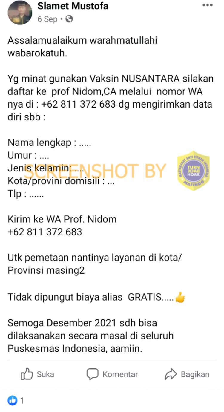 [SALAH] Pendaftaran Vaksin Nusantara melalui WhatsApp
